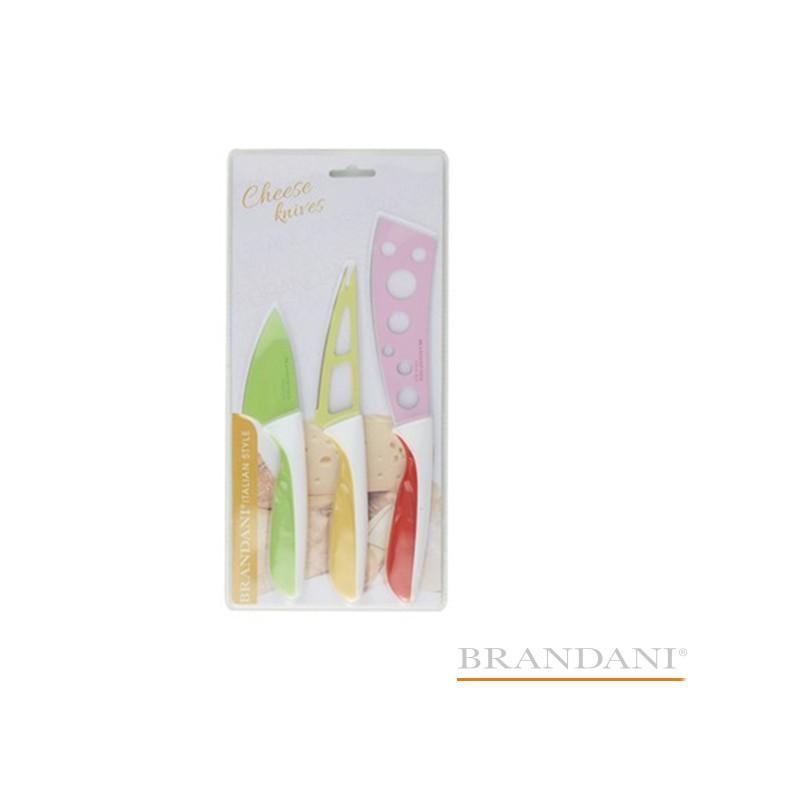 Coltello Formaggio DALI' BRANDANI set 3 pezzi colorati in acciaio inox con manico in plastica pp soft touch Codice prodotto: 83