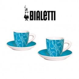 Set 2 Tazzine per Caffè con Piattino BIALETTI Colore Azzuro